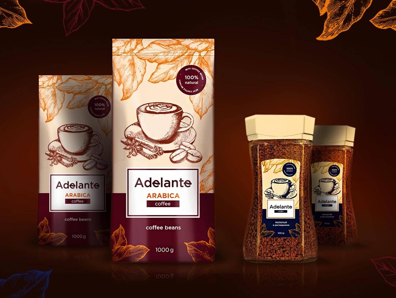 Брендинг и дизайн упаковки кофе Adelante